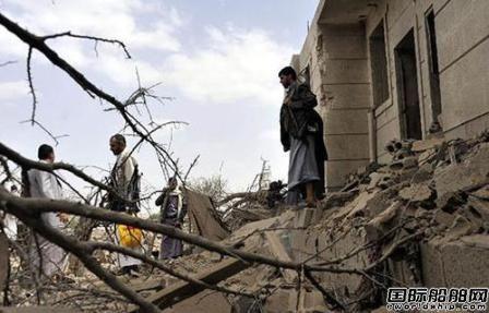 沙特空袭也门港口船舶