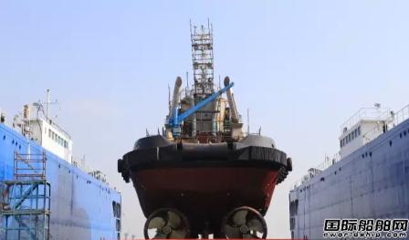 广东新船重工第四艘32米80吨拖轮下水