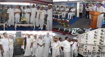 印度海军钦奈号导弹驱逐舰启航仪式