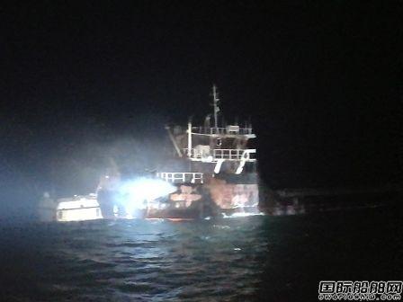 一艘货船台州海域起火船上有5名船员
