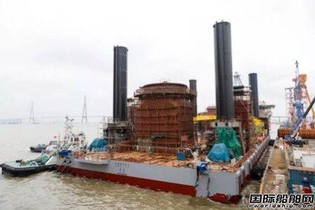 振华重工建造世界最大风电施工平台下水