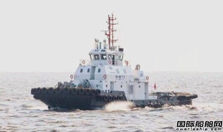 """国内首制油电混合动力拖轮""""海港711""""轮顺利试航"""