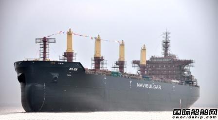 宏强重工一艘42300吨散货船下水