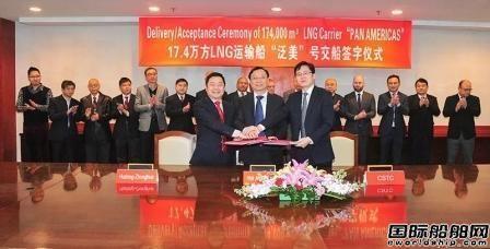 沪东中华两艘17.4万立方米LNG船同日交船