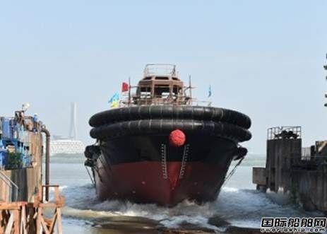 镇江船厂一艘4420kW全回转拖船顺利下水