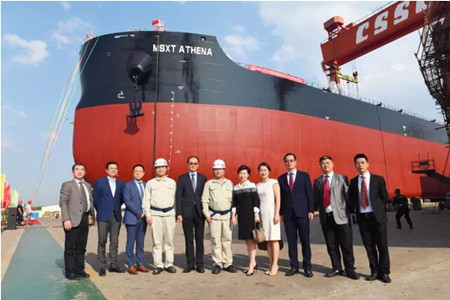中船澄西扬州公司首艘8.2万吨散货船下水