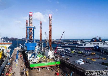 达门Dunkerque修船厂完成一座自升式平台船改装